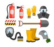 Schutzausrüstungsvektorsatz Feuerschutz und Feuer Ein Gas mas Stockfotos