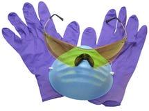 Schutzbrillen, Schablone und Handschuhe Lizenzfreie Stockfotos