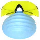 Schutzbrillen und Schablone Stockfotografie