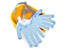 Schutzhelm umgedreht und Handschuhe Lizenzfreies Stockbild