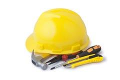 Schutzhelm- und Bauwerkzeuge Lizenzfreies Stockfoto