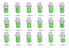 Schutzimpfungsspritzen-Ikonensatz auf lokalisiert Lizenzfreie Stockfotografie