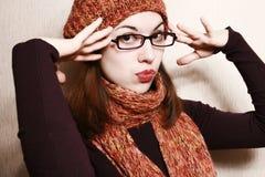 Schutzkappe, Schal und Gläser. Stockbilder