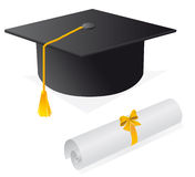 Schutzkappe und Diplom Lizenzfreie Stockfotografie
