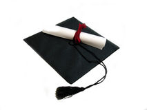 Schutzkappe und Diplom Lizenzfreie Stockbilder