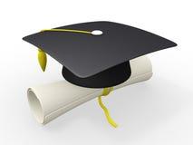 Schutzkappe und Diplom der Staffelung 3d stock abbildung
