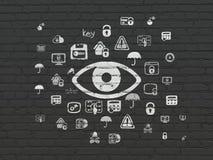 Schutzkonzept: Auge auf Wandhintergrund stockbild