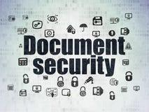 Schutzkonzept: Dokumenten-Sicherheit auf Digital-Papierhintergrund Stockfoto