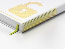 Schutzkonzept: geschlossenes Buch, geöffnetes Vorhängeschloß auf weißem Hintergrund Lizenzfreie Stockfotos