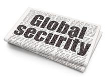Schutzkonzept: Globale Sicherheit auf Zeitungshintergrund Stockbild