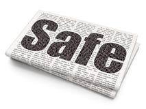 Schutzkonzept: Safe auf Zeitungshintergrund Stockfoto