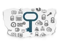 Schutzkonzept: Schlüssel auf heftigem Papierhintergrund Stockbilder