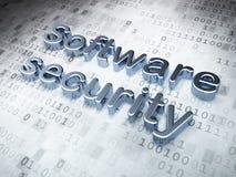 Schutzkonzept: Silberne Software-Sicherheit an Stockfoto