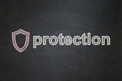 Schutzkonzept: Umrissenes Schild und Stockfotos