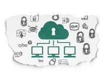 Schutzkonzept: Wolken-Netz auf heftigem Papier Stockfoto