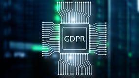 Schutzregelung allgemeiner Daten GDPR Abstrakter Doppelbelichtungsserver-Raumhintergrund lizenzfreie stockfotografie