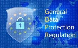 Schutzregelung allgemeiner Daten GDPR Eu-Computerschutzregelungs- und -datenverschlüsselung vector Konzept stock abbildung