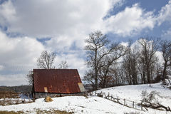 Schuur in de Winter royalty-vrije stock fotografie
