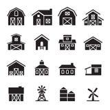 Schuur & landbouwbedrijf de bouw pictogramreeks Royalty-vrije Stock Foto's