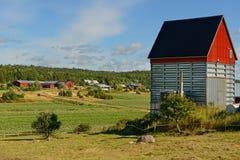 Schuur met een rood dak Royalty-vrije Stock Fotografie
