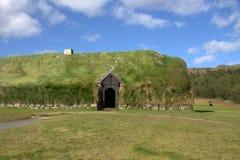 Schuur op het middeleeuwse landbouwbedrijf in IJsland Stock Foto's