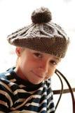 Schuw jongensportret royalty-vrije stock foto's
