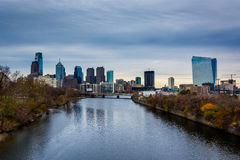 The Schuylkill River and skyline in Philadelphia, Pennsylvania. The Schuylkill River and skyline in Philadelphia, Pennsylvania Royalty Free Stock Photography