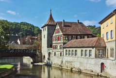 Schwäbisch Hall, Germany. Schwäbisch Hall is historical town in the German state of Baden-Württemberg and located in the valley of the river Kocher royalty free stock image