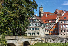 Schwäbisch Hall, Germany. Schwäbisch Hall is historical town in the German state of Baden-Württemberg and located in the valley of the river Kocher stock image