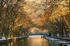 Schwäne auf dem Kanal Annency Stockfotografie