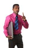 Schwärzen Sie afroen-amerikanisch Geschäftsmann mit Gleichheitcomputer lizenzfreies stockbild