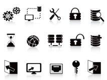 Schwärzen Sie Datenbank und Technologieikone Stockfotografie