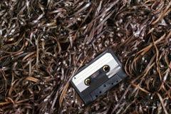 Löschen Sie aufnahmefähige Audiokassette auf Magnetband Stockfoto