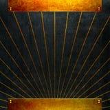 Schwärzen Sie Hintergrund mit Goldmetall Stockfotografie
