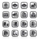 Schwärzen Sie Ikonen einer weißen Verbindung, der Kommunikation und des Handys Lizenzfreie Stockbilder