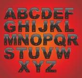 Schwärzen Sie lateinisches Alphabet Lizenzfreies Stockbild