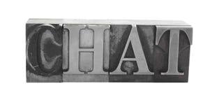 SCHWÄTZCHEN im alten Metalltypen Stockbilder