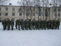 Schwören des Eides in der russischen militärischen Einheit in Kaluga-Region Lizenzfreie Stockbilder
