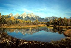 Schwabacher Landing. The Grand Tetons are reflected in a beaver pond Stock Photos