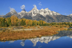 Schwabacher Landing Reflection. Grand Tetons water reflecting at Schwabacher Landing Royalty Free Stock Photography