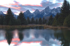 Schwabachers Landing Sunset 4. Sunset reflection at Schwabachers Landing, Grand Teton National Park, Wyoming Royalty Free Stock Photos