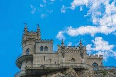 Schwalben nisten, historisches Schloss auf dem Kap Ai-Todor über dem Schwarzen Meer, Markstein von Krim Lizenzfreie Stockfotos