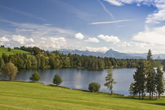 Schwalten pond in allgaeu Stock Photo