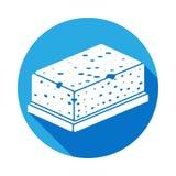 Schwamm für waschende Ikone mit langem Schatten Element der Küchengeschirrikone Erstklassiges Qualitätsgrafikdesign Zeichen, Entw vektor abbildung