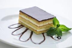 Schwammkuchen mit Creme und Belag auf weißer Platte, Produktfotografie für Shop oder Konditorei der Vanille Lizenzfreie Stockfotografie