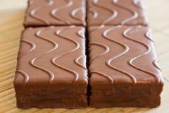 Schwammkuchen mit Schokolade Stockfotos