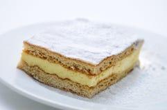 Schwammkuchen mit Vanille Puding und Pulverzucker auf der weißen Platte lokalisiert auf weißem Hintergrund, Produktfotografie für Lizenzfreie Stockfotografie
