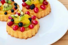 Schwammkuchenobsttorte mit Früchten Lizenzfreie Stockbilder