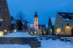 Schwandorf på natten Arkivfoto