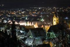 Schwandorf på natten Arkivfoton